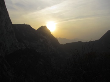 Sun Set behind South Peak on Hua Shan Mountain, China