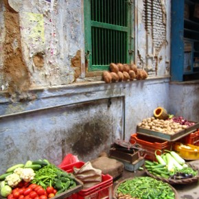 Food in a bazaar